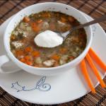 Суп с гречкой и сметаной